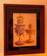 1844 ANTIQUE ENGLISH ORIGINAL SEPIA PRINT LOVING CUPS ORNATE FRAME WEDDING GIFT