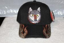 WOLF HEAD OUTDOOR BASEBALL CAP HAT ( BLACK )