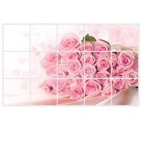Calcomania de pared rosa rosada para cocina decoracion de arte pegatinas a W3J6