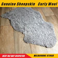 Shorn Curly Sheepskin Lambskin Rug Wool - Grey,Charcoal,White, Light Violet