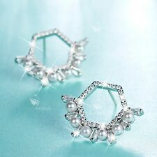 18k white gold gf made with SWAROVSKI crystal stud pearl earrings 925 silver pin