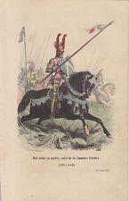 C1 Histoire Armee GRAVURE COULEURS PHILIPPOTEAUX 1850 Duc Arme en Guerre 1380