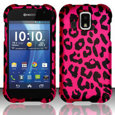 For Kyocera Hydro XTRM C6721 Rubberized HARD Case Phone Cover Hot Pink Leopard