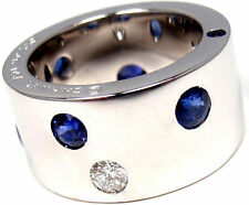 RARE! AUTHENTIC GORGEOUS CHANEL 18K WHITE GOLD DIAMOND SAPPHIRE BAND RING
