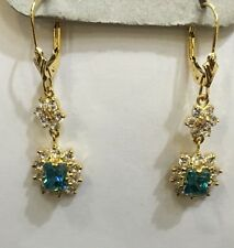 14k Solid Yellow Gold Dangle Leverback Earrings with Natural Blue Zircon 7.4& CZ