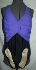 Carol Wior one piece swimsuit 12 WELL MADE underwire purple black lined