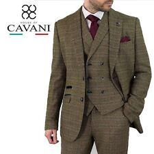 Mens Cavani Check Tweed Peaky Blinders Blazer Wasitcoat Trousers 3 Piece Suit