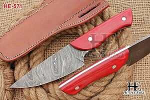 HUNTEX Custom Handmade Damascus Steel 230mmLong FullTang Pakkawood Hunting Knife