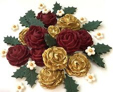 Red & Gold Rose Christmas Bouquet Edible Flowers Cake Decorations Toppers