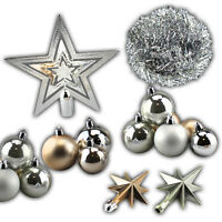 Christmas Tree Decorations Tinsel Star Shatterproof Baubles Glitter Sparkle Home