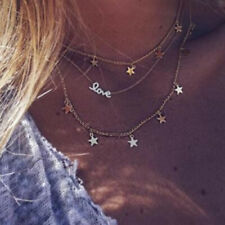 Necklace Womens Jewellery Us Love Star Pendant Layered Chain