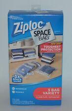 ZIPLOC SPACE BAG 3 VARIETY 2 LARGE 1 SUITCASE WATERPROOF REUSABLE PROTECTION