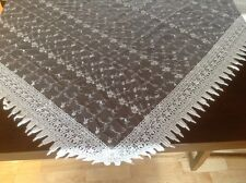 """French Country Rose with Macrame-54""""x54"""" -Floral Table Topper-Cream"""