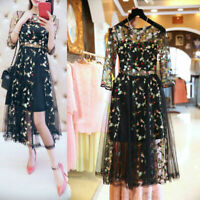 Women Retro Plus Size Mesh Floral Embroidery Long Dress Half Sleeve Sheer Party