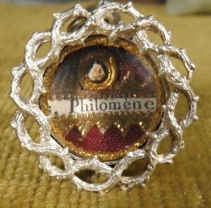 OLD ORNATE THECA CASE WITH A RELIC OF ST.PHILOMENA