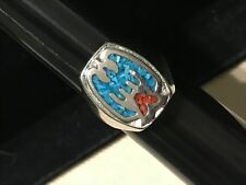 THUNDERBIRD TURQUOISE CORAL RING MENS INLAY CLASS RING STYLE SIZE 9.5