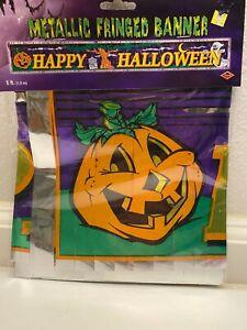"NEW Beistle Halloween Metallic Fringed Banner Decor ""Happy Halloween"" 5 ft long"