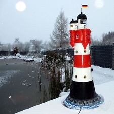 LEUCHTTURM ROTER SAND 120 cm mit DOPPELLICHT rot weiß Garten Deko Figur Meer