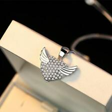 925 Sterling Silver Micro-inlay CZ Love Heart Angel Wing Pendant Chain Necklace