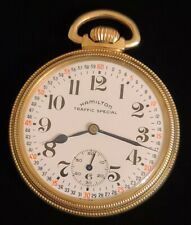 16 Pocket Watch / 10k Rgp Case New listing Gorgeous Hamilton Traffic Special 17 Jewel Size