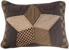 Hand Quilted Pillow Sham Farmhouse Star Country Style Charcoal + Brown Patchwork