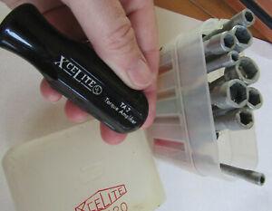 Vintage Xcelite PS0120 socket wrench set + torque amplifier, 11pcs, plastic case