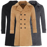 Mens Slim Fit Double Breasted Wool Jackets Long Trench Pea Coat Outwear S M L XL