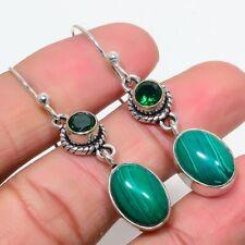 "Malachite, Emerald Gemstone 925 Sterling Silver Earring 2.0"""