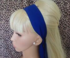 ROYAL BLUE COTTON FABRIC HEAD SCARF HAIR BAND SELF TIE BOW 50s 60s RETRO STYLE