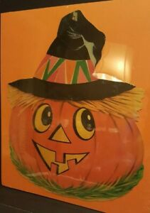 Vintage Halloween Dennison Jack O Lantern Witch Hat Die Cut Decoration Mid Cent.