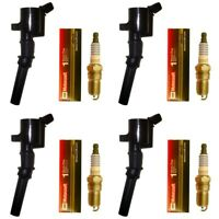 Set of 4 Ignition Coils + 4 Motorcraft Spark Plugs For 2000-11 Ford Lincoln