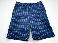 Fila Sport Golf Shorts 32 Men's Flat Front Polyester Lightweight Blue Check