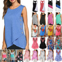 Womens Summer Sleeveless Tunic Tank Top Casual Blouse Vest T Shirt Tee Plus Size