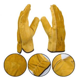 Heavy Duty Gardening Gloves Men Women Thorn Proof Leather Work Gloves Yellow