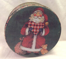 SANTA TIN ROUND CONTAINER HOLDING A PLAID HEART WITH TEDDY BEAR COLLECTIBLE