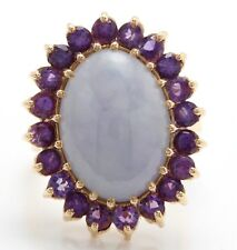 10.60 Carat Natural Jade and Amethyst in 14K Solid Yellow Gold Ring