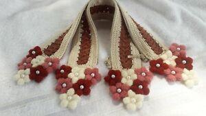 "Handle Covers Crochet Handmade for Handbag Flowers Cotton Beige Brown 12"" New"