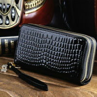 Women Big Capacity Ladies Purses High Quality Patent Pu Leather Double Zipper
