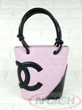 BIDSALEONLY! AUTHENTIC $1210 CHANEL Pink/Black Small Cambon Ligne Leather Bag