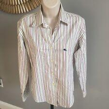 ETRO Milano Womens Shirt Striped Blouse TOP Italy 42 Size 8 Button Front White