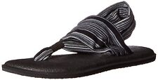 Sanuk Women's Yoga Sling 2 Flip Flop  Black/White Size 7