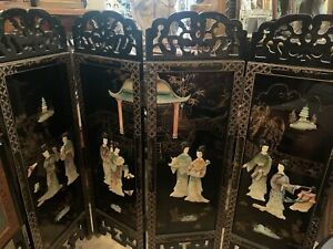 """Vintage Chinese Asian Detailed  4-Panel Screen Room Divider 36"""" Tall"""