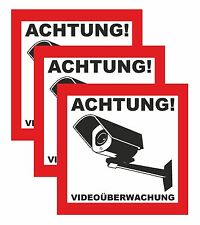 3x Aufkleber ACHTUNG! Videoüberwachung, Hinweisschild Warnaufkleber Kamera 3 Stk