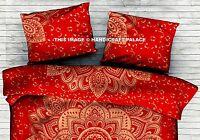 Indien Ombre Mandala Rouge Housse Oreiller Coton Jeté de Lit Bohème Canapé Taie