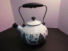 Martha Stewart Collection 2 Qt Tea Kettle Festive Holiday  Enamel on Steel