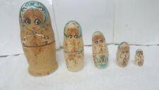 Made In Russia - Russian Nesting Dolls 5 Piece Set Hand Painted / Young Girl 6""