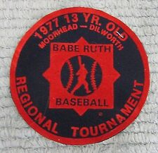 1977 Babe Ruth Baseball Regional Tournament Moorhead Dilworth MN Patch FREE S/H