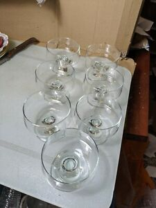7 Glass Footed Prawn Cocktail Starter Dessert Bowls Dishes h349