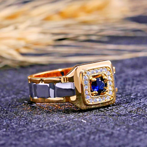 Mens Gold Stainless Steel Square Ruby Blue CZ Engagement Wedding Band Ring