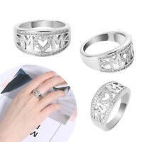 Fashion Mum Love Mother Ring Jewelry Crystal MOM NANA Letter Birthday Family New